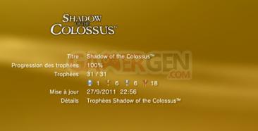 Shadow of Colossus - Trophées LISTE -  1