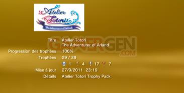 Atelier Totori The Adventurer of Arland - Trophées LISTE -  1