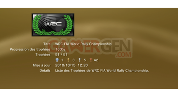 WRC FIA WORLD RALLY Championshipl ps3 Trophees LISTE 01