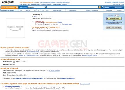 Uncharted 3 Sony Amazon Rumeur