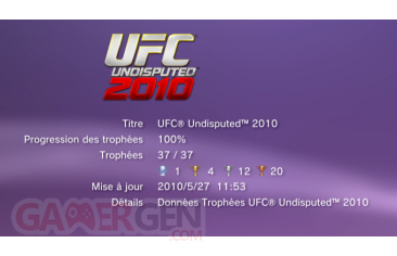 UFC INDISPUTED 2010 trophees liste 1