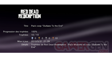 pack coop trophees red dead redemption vignette Red Dead redemption Trophees pack coop outlaw to the end 0002 11