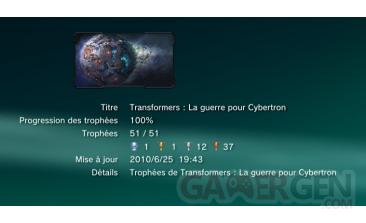 Transformers la guerre pour cybertron trophees liste 1