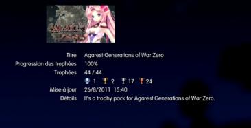 Agarest Generation of War Zero Trophées LISTE 1