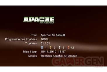 APACHE AIR ASSAULT trophees PS3 LISTE        1