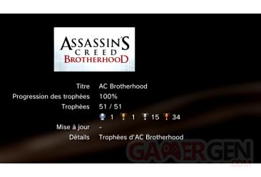 assassin's creed brotherhood trophées ps3 LISTE
