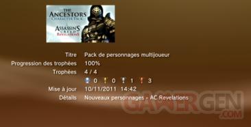 Assassin's creed revelations - Pack Personnages Multijoueur - Trophées - LISTE 1
