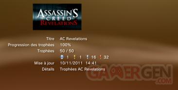 Assassin's creed revelations - Trophées - LISTE 1