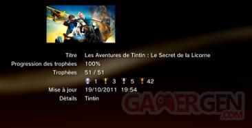Les aventures de Tintin - Le secret de la licorne - trophées - LISTE -  1