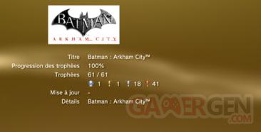 Batman Arkham City avec DLC trophées LISTE