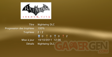 Batman Arkham City NIGHTWING DLC trophées LISTE
