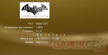 Batman Arkham City ROBIN DLC trophées LISTE