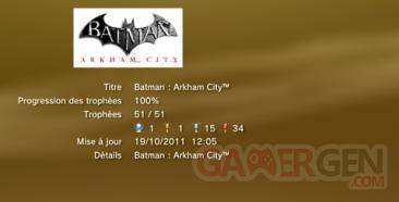 Batman Arkham City trophées LISTE 1