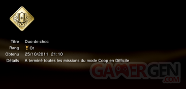 Battlefield 3 - Trophées - OR 2