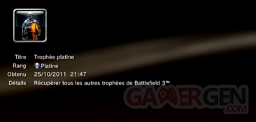 Battlefield 3 - Trophées - PLATINE 1