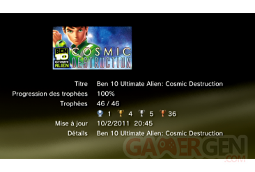 Ben 10 Ultimate Alien Cosmic Destruction Trophées LISTE 1
