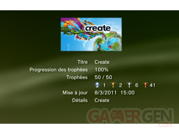 create trophées liste    1