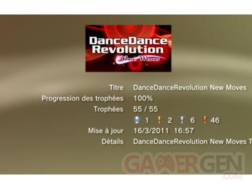 Danc Dance revolution New Moves - trophees - LISTE -  1