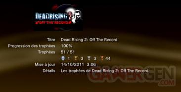 Dead Rising 2 - Off the record - Trophées - LISTE 1
