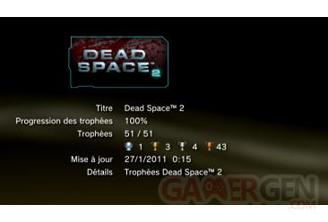 Dead Space 2 PS3 trophées LISTE 1