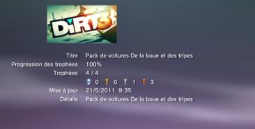 Dirt 3 Trophées DLC boue tripes LISTE