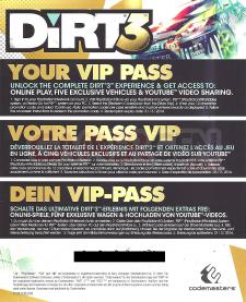 DIRT 3 VIP Pass