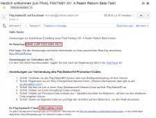 FF XIV Beta Key Mail
