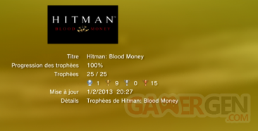 HITMAN BLOOD MONEY - TROPHEES - LISTE - 0001