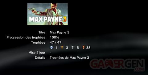 Max Payne Trophées LISTE -  1