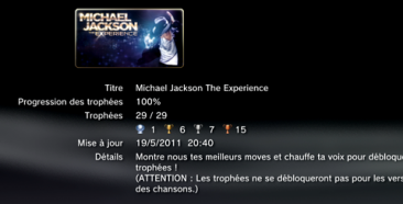 mickael jackson the experience  trophées LISTE