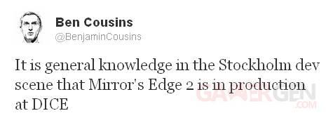 Mirror's Edge 2 tweet screenshot 21112012