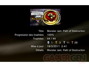 Monster Jam path of Destruction - trophées - LISTE -  1
