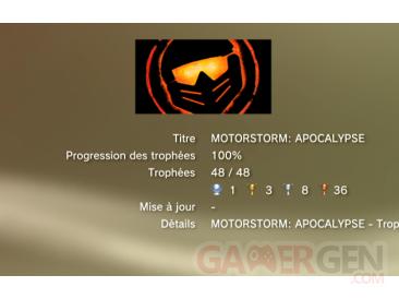 Motorstorm Apocalypse - trophees - LISTE  -  1