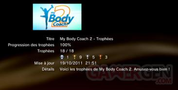 My Body Coach 2 - trophées -LISTE 1