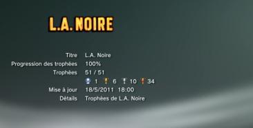 L.A. Noire et DLC Trophees LISTE 1