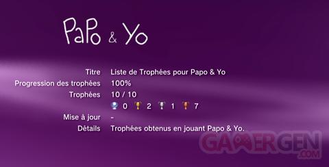 Papo & Yo - Trophées - LISTE -  1