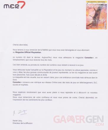 playstation magazine officiel lettre fin abonnement