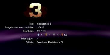 Resistance 3 trophées LISTE 1