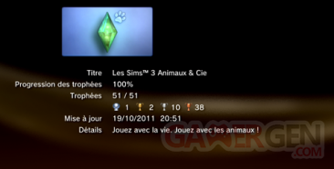 Les sims 3 Animaux & cie - trophées - LISTE -  1