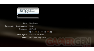 Singstar Dance  trophees LISTE PS3 PS3GEN 01
