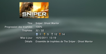 Sniper Ghost Warrior trophees LISTE 01