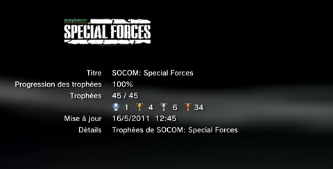 Socom special forces trophees LISTE 1