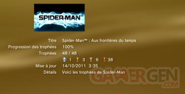 Spider-man aux frontières du temps - Trophées - LISTE -  1