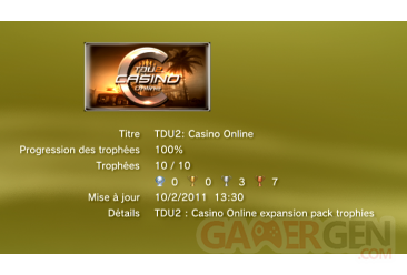 TDU2 - Casino on line - Trophees - liste 1