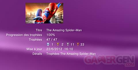 The Amazing Spider-Man - Trophées - LISTE -  1