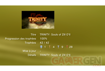 Trinity Souls of Zill o'll trophees LISTE 1
